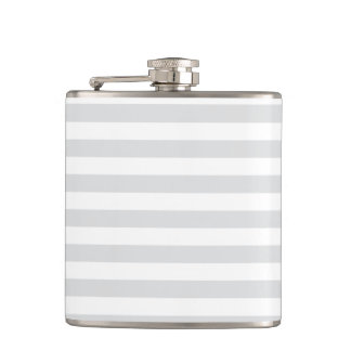 Thin Stripes - White and Light Gray Hip Flask