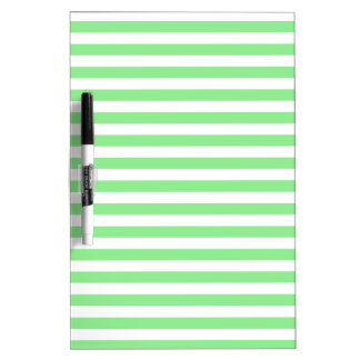 Thin Stripes - White and Light Green Dry Erase Board