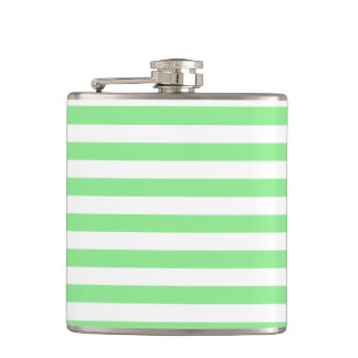 Thin Stripes - White and Light Green Hip Flask