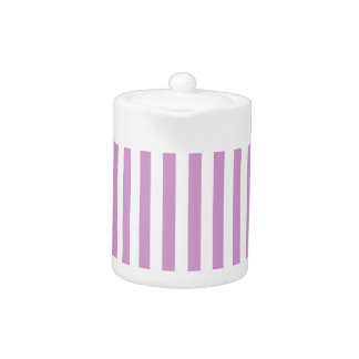 Thin Stripes - White and Light Medium Orchid