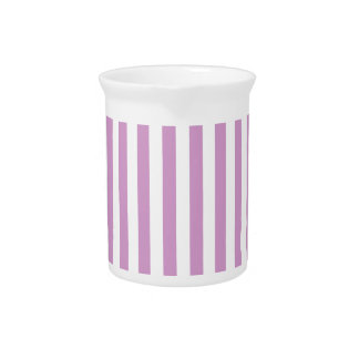 Thin Stripes - White and Light Medium Orchid Beverage Pitcher