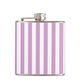 Thin Stripes - White and Light Medium Orchid Flasks