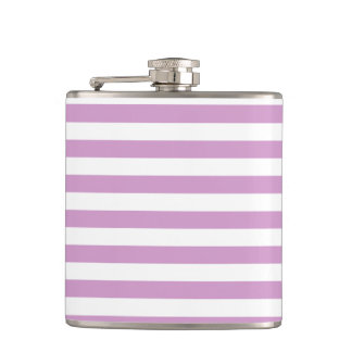 Thin Stripes - White and Light Medium Orchid Hip Flask