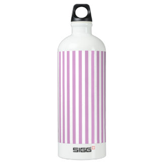 Thin Stripes - White and Light Medium Orchid Water Bottle