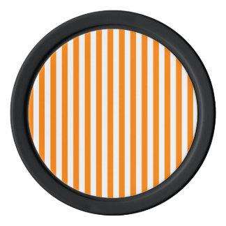 Thin Stripes - White and Orange Poker Chips
