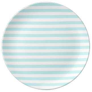 Thin Stripes - White and Pale Blue Plate