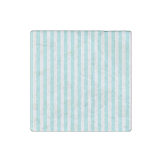Thin Stripes - White and Pale Blue Stone Magnet