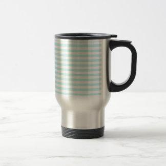 Thin Stripes - White and Pale Blue Travel Mug