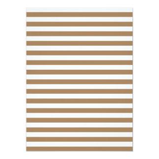 Thin Stripes - White and Pale Brown 17 Cm X 22 Cm Invitation Card