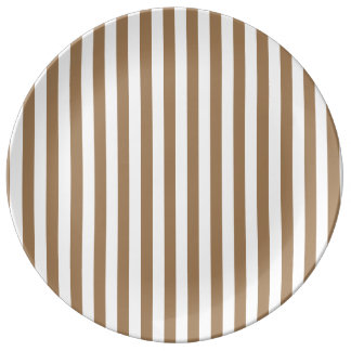 Thin Stripes - White and Pale Brown Plate