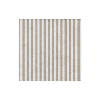 Thin Stripes - White and Pale Brown Stone Magnet