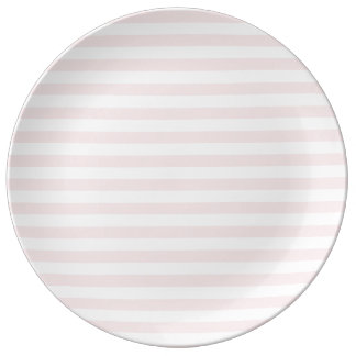 Thin Stripes - White and Pale Pink Plate