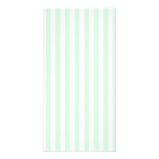 Thin Stripes - White and Pastel Green Personalised Photo Card