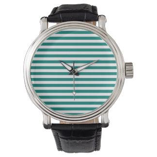 Thin Stripes - White and Pine Green Wristwatch