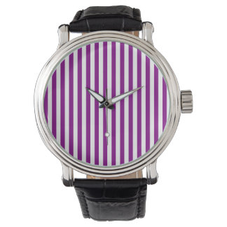 Thin Stripes - White and Purple Watch
