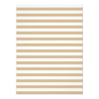 Thin Stripes - White and Tan 17 Cm X 22 Cm Invitation Card