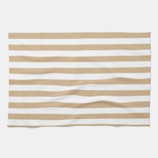 Thin Stripes - White and Tan Tea Towel