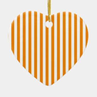 Thin Stripes - White and Tangerine Ceramic Heart Decoration