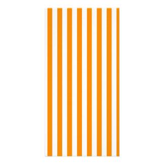 Thin Stripes - White and Tangerine Customized Photo Card