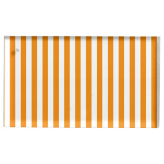 Thin Stripes - White and Tangerine Table Card Holder