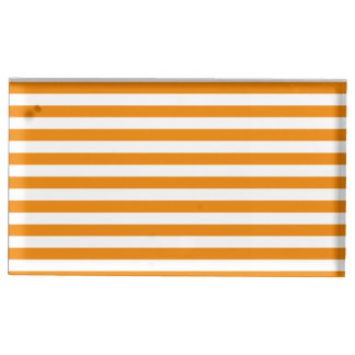 Thin Stripes - White and Tangerine Table Card Holders