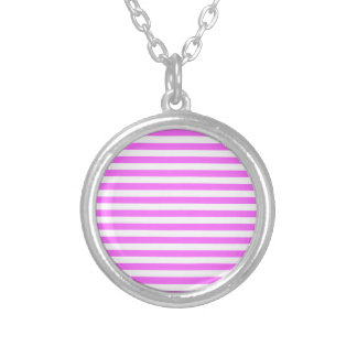 Thin Stripes - White and Ultra Pink Silver Plated Necklace