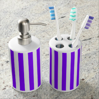 Thin Stripes - White and Violet Bathroom Set