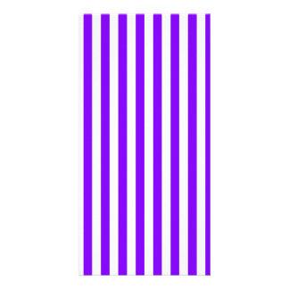 Thin Stripes - White and Violet Custom Photo Card
