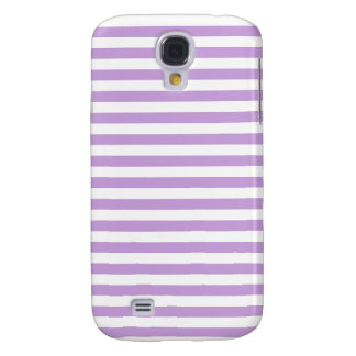 Thin Stripes - White and Wisteria Galaxy S4 Covers