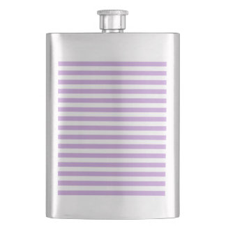 Thin Stripes - White and Wisteria Hip Flask