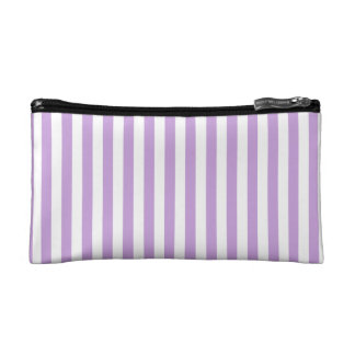 Thin Stripes - White and Wisteria Makeup Bag