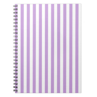 Thin Stripes - White and Wisteria Notebook
