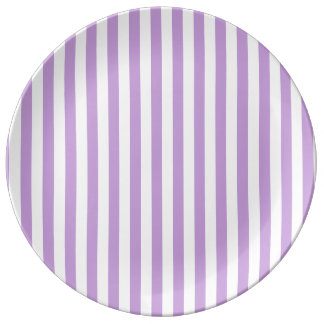 Thin Stripes - White and Wisteria Plate