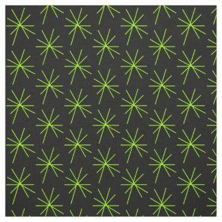 Thin Ten Arm Line Green Stars Fabric