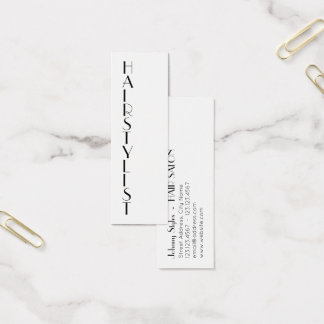 Thin vertical style text mini business card