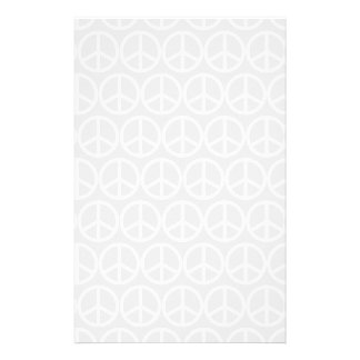 Thin White Peace Sign on Gray Stationery