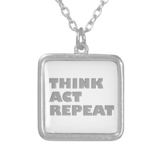 Think Act Repeat Square Pendant Necklace