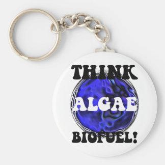 Think algae biofuel basic round button key ring