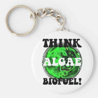 Think algae biofuel! basic round button key ring