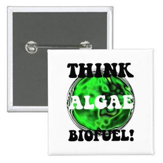 Think algae biofuel pinback button