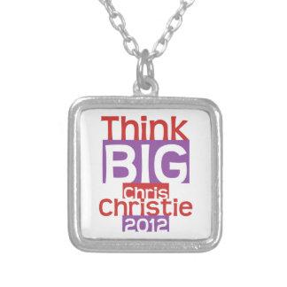 Think BIG Chris Christie 2012 - Original Designer Square Pendant Necklace