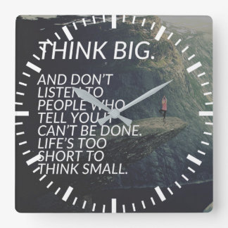 THINK BIG - Inspirational Words Square Wall Clock