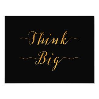 Think Big Quote Gold Faux Foil Quotes Black Photo