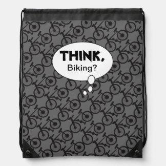 Think, Biking Silhouette Pattern Drawstring Bag