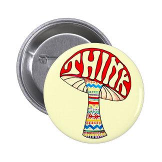 Think Button. 6 Cm Round Badge