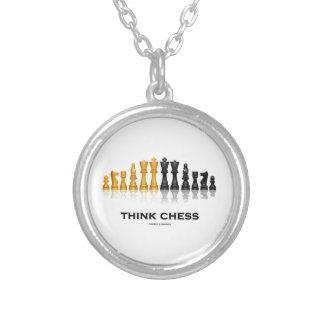 Think Chess Reflective Chess Set Chess Advice Round Pendant Necklace