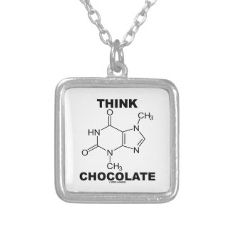 Think Chocolate (Theobromine Molecule Chemistry) Square Pendant Necklace