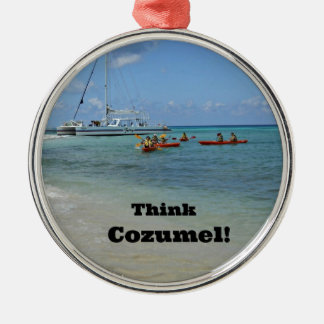 Think Cozumel! Silver-Colored Round Decoration