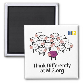 Think Differently - Purple Sheep Square Magnet