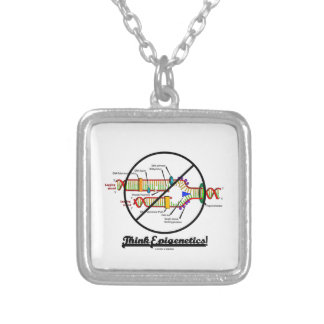 Think Epigenetics! (Cross Out DNA Replication) Silver Plated Necklace